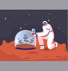 male astronaut character in space suit planting vector image