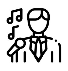 man in suit with microphone singing recital vector image