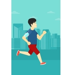 Man jogging with earphones and smartphone vector