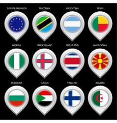 Map marker with flag-set second vector image