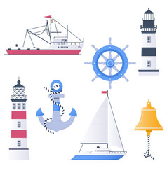 Marine set with ships boats and nautical vector