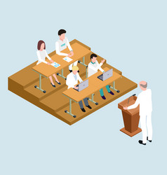 Medical school students and proffessor isometric vector