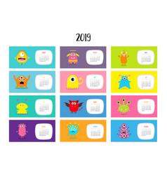 monster horizontal monthly calendar 2019 cute vector image