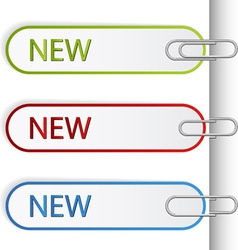 New sign labels with paperclips vector