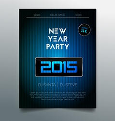 New year party flyer template - dark blue design vector image