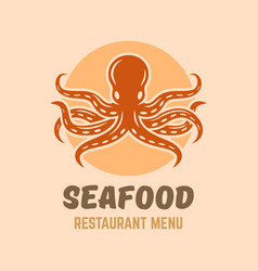 octopus seafood restaurant menu isolated logo vector image