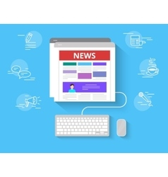 Online reading news vector image