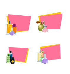 perfume bottles stickers with place vector image