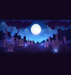 Pet cemetery at night animal graveyard tombstones vector