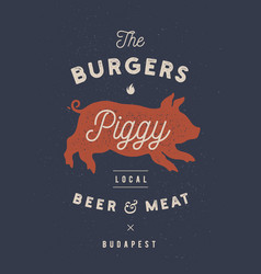 Piggy pig pork vintage label logo sticker vector