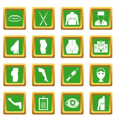 Plastic surgeon icons set green vector
