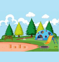 Playground equipment in park vector