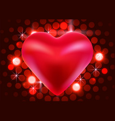red valentine heart on shiny background love vector image