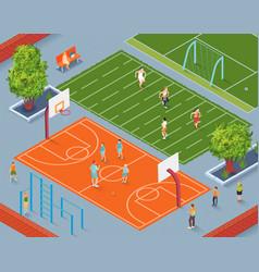 School sports ground vector