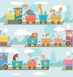 Seamless animals on train pattern happy animal in vector