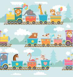seamless animals on train pattern happy animal vector image