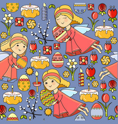 seamless pattern with easter icon on blu vector image