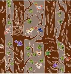 seamless tree and bird vector image
