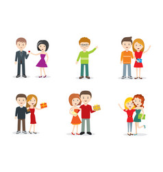 Set characters with gifts flat design vector