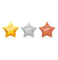 Set of 3d gold silver and bronze stars vector