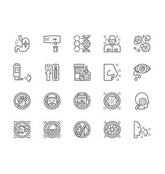 Set of allergy and allergens line icons patient vector