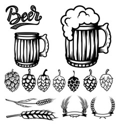 Set of components for beer labels design beer vector