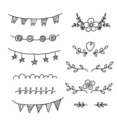 Set of hand-drawn black handle elements set of vector