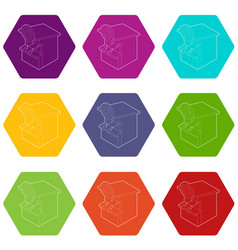 shooting gallery icons set 9 vector image