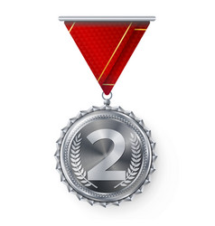 Silver medal round championship label vector