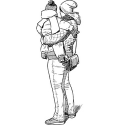 Sketch a mother with her baby vector