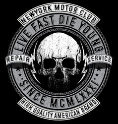skull t shirt graphic design motorcycle club vector image