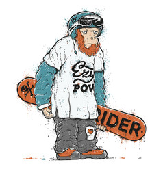 Snowboarder monkey character vector