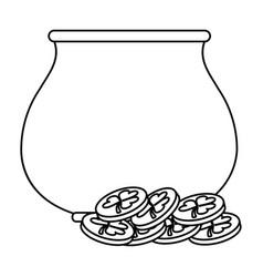 st patricks day pot coin treasure thin line vector image vector image