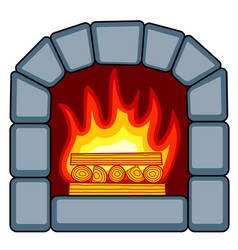 Stone fireplace icon vector