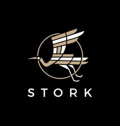 Stork flying logo icon vector