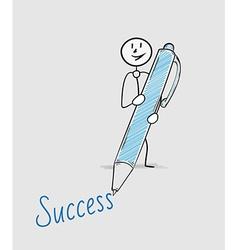 Success text and pen vector