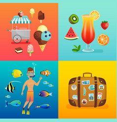 Summer set with ice cream cocktails suitcase vector