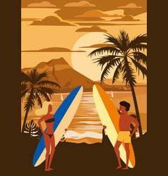 surfers man and woman couple on beach sunset vector image
