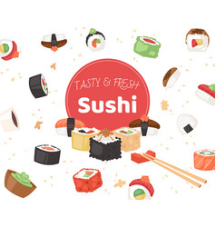 tasty and fresh sushi banner poster vector image