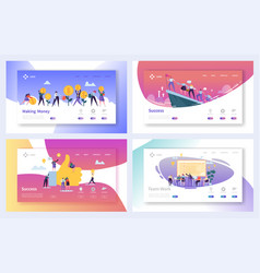 Teamwork business work success landing page set vector
