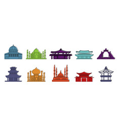 temple icon set color outline style vector image