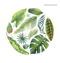 Watercolor card tropical leaves and vector