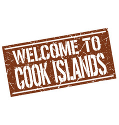 Welcome to cook islands stamp vector
