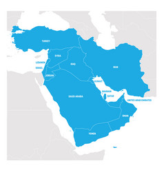 West asia region map of countries in western asia vector