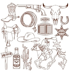 wild west monochrome icon set vector image
