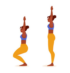 Young woman practicing yoga standing pose girl vector