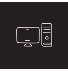 CPU and monitor sketch icon vector image vector image