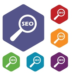 Seo search rhombus icons vector image