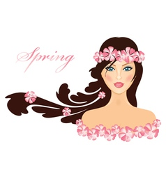 spring of girl with flowers vector image vector image