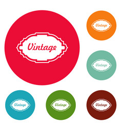 style label icons circle set vector image vector image